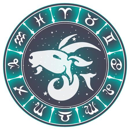 fate: Capricorn zodiac sign , vector illustration