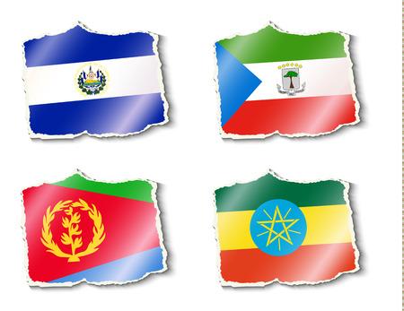 shreds: flags of the world, vector illustration Illustration