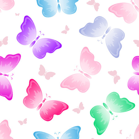 seamless background with butterflies, vector illustration