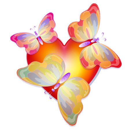thrive: heart with butterflies, Valentines Day, vector illustration Illustration