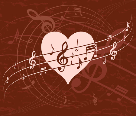 valentine musical note: abstract background with heart and music, retro, vector illustration Illustration