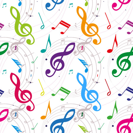 popular music: seamless background with notes, vector illustration