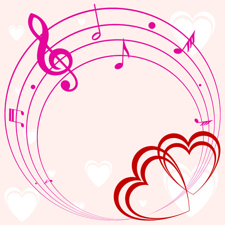 valentine musical note: abstract background frame with heart and music, retro illustration