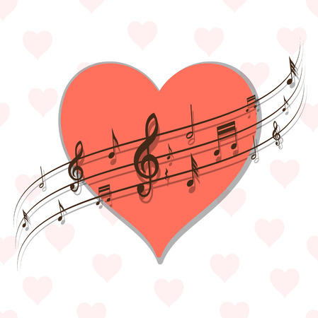valentine musical note: abstract background with heart and music, retro illustration