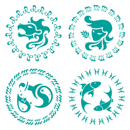 signs of the zodiac, four characters, set against white background, vector illustration