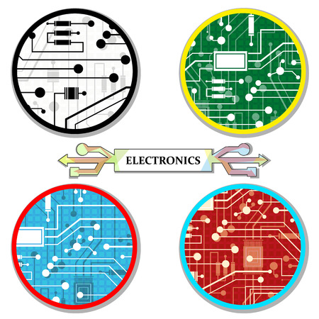 electronic circuit, a set of round-icons, abstract, vector illustration Illustration