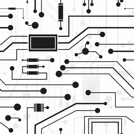 electronics engineering: electronic circuit, seamless background, vector illustration