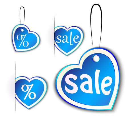 discounts, holiday discount coupons in the form of hearts, vector illustration