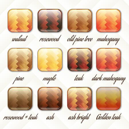 teak: parquet, wooden set of buttons, icons, vector illustration