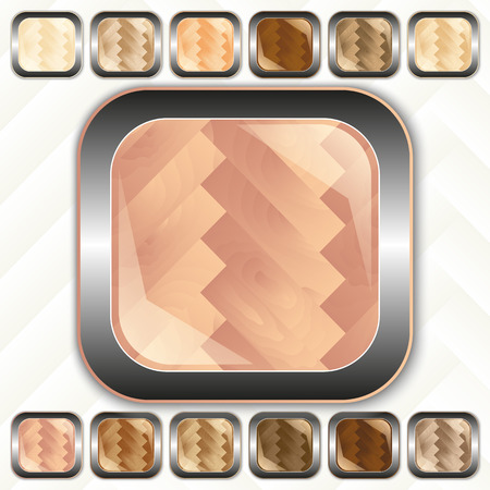 parquet, wooden set of buttons, icons, vector illustration