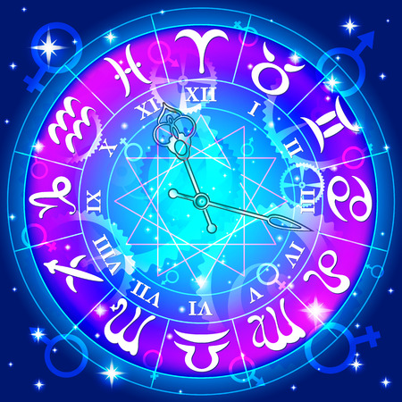 Watch with the astrological signs of the zodiac, vector illustration Vector