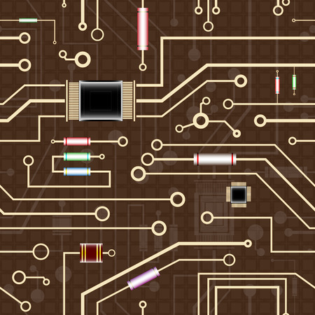 electronic background: an electronic circuit, seamless background, vector illustration