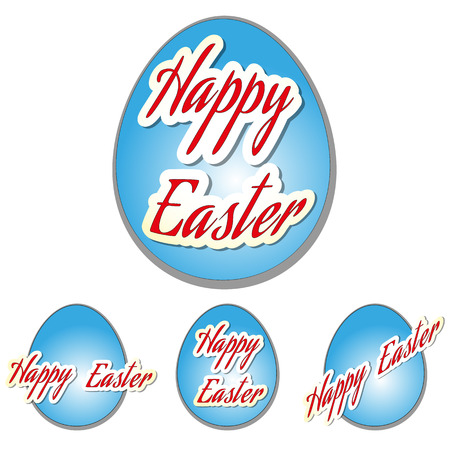 Easter set eggs with text, vector illustration