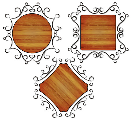 vintage, frames with wood texture, vector illustration