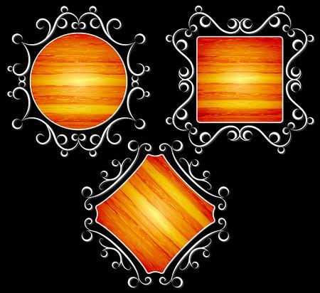 vintage, frames with wood texture illustration Illustration