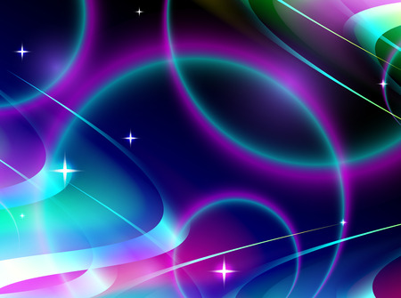 fluted: abstract wavy background, space and stars, vector illustration Illustration