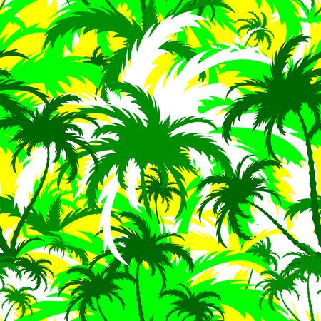 palm trees, tropical landscape, seamless background, vector illustration Ilustração
