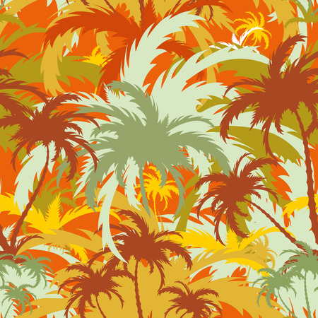 palm trees, tropical landscape, seamless background, vector illustration  イラスト・ベクター素材