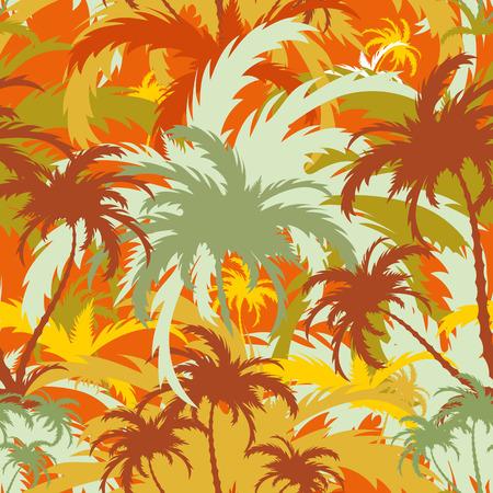 palm trees, tropical landscape, seamless background, vector illustration Illustration