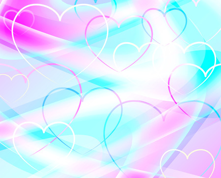 fluted: abstract wavy background with hearts Illustration
