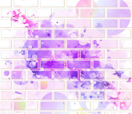 abstract background brick wall painted with spots of different colors Illustration