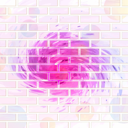 abstract background brick wall painted with spots of different colors Stock Illustratie