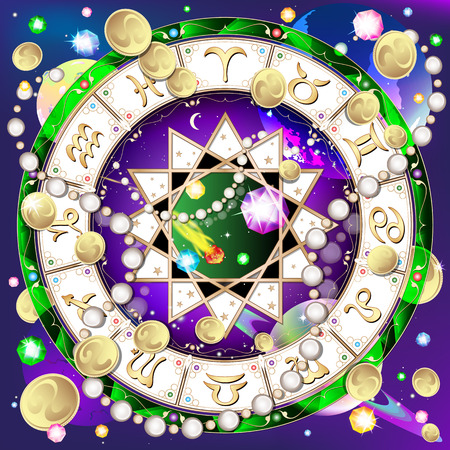 signs of the zodiac, astrological circle in space, abstract background, vector illustration Vector