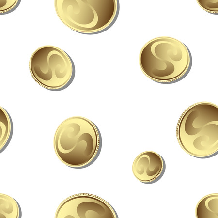 seamless background, falling gold coins, vector illustration
