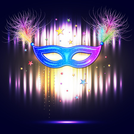 venetian carnival: Venetian carnival mask with feathers, abstract background, poster, vector illustration