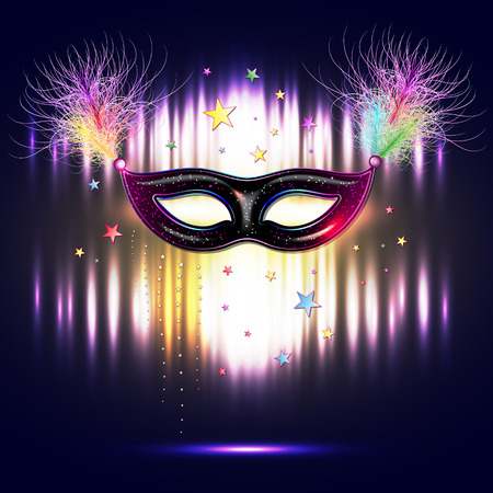 decoration decorative disguise: Venetian carnival mask with feathers, abstract background, poster, vector illustration