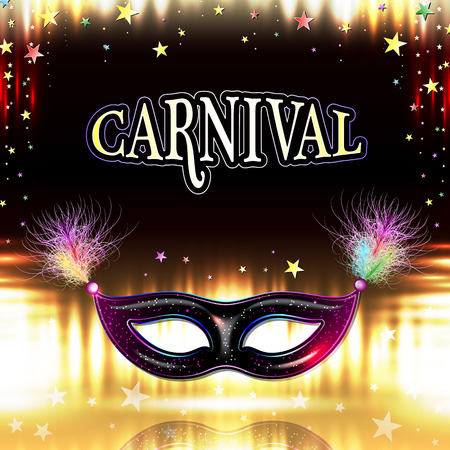 Venetian carnival mask with feathers, abstract background, poster, vector illustration
