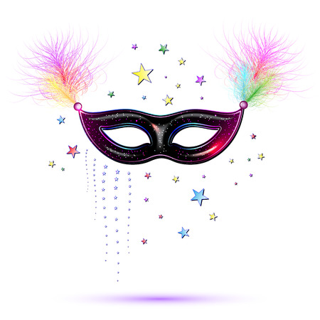 purim carnival party: Venetian carnival mask with feathers, abstract background, poster, vector illustration