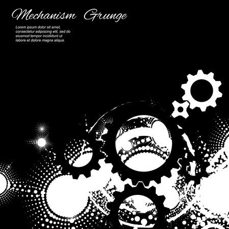 Abstract grunge background, gears on black background, vector illustration Illustration