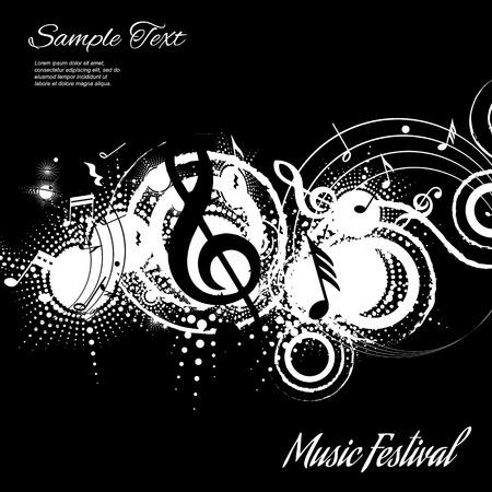 nota musical: Resumen de la composición musical sobre fondo negro con espacio para texto, ilustración vectorial