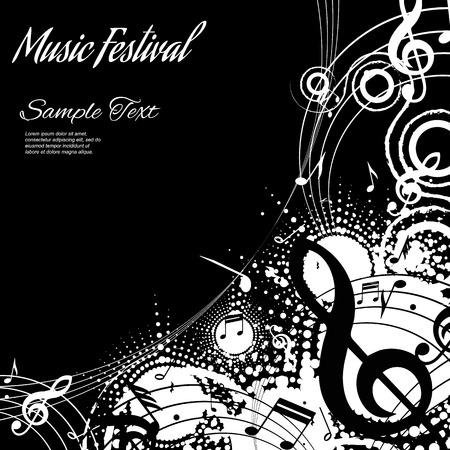 coro: Resumen de la composici�n musical sobre fondo negro con espacio para texto, ilustraci�n vectorial