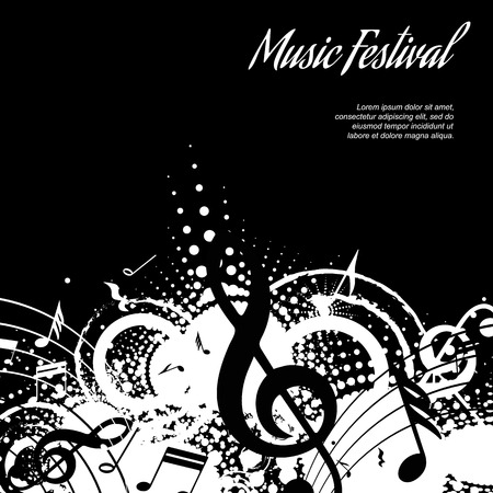 concerts: abstract musical composition on black background with space for text, vector illustration