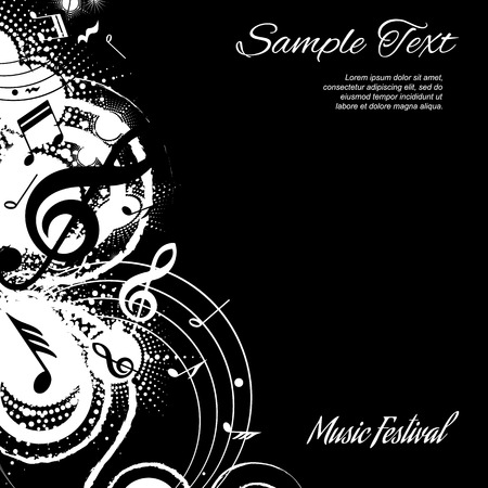 festival poster: abstract musical composition on black background with space for text, vector illustration