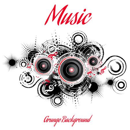Musical grunge background, retro style, vector illustration Illustration