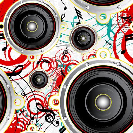 Musical seamless grunge background, retro style, vector illustration