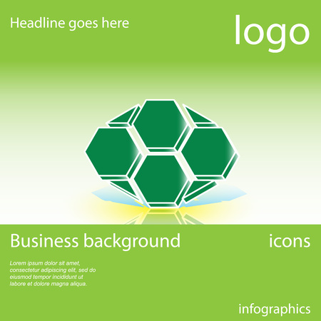 Honeycomb, green business background with space for text, vector illustration