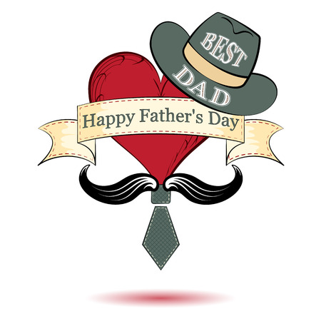fathers day, heart in a hat and tie, vector illustration Illustration