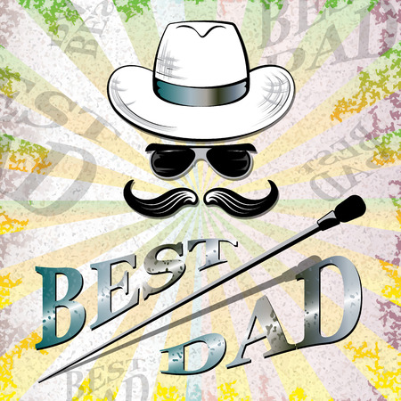 Happy fathers day, retro background, vector illustration
