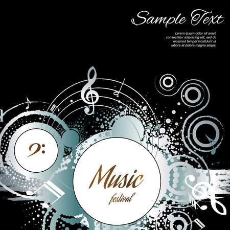abstract music: Music abstract on black background with space for text