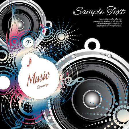 poster template: Music abstract on black background with space for text