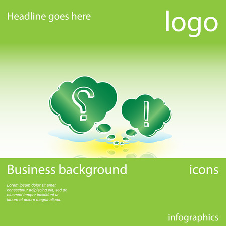 exclamation point: Question mark, exclamation point, green business background with space for text, vector illustration Illustration