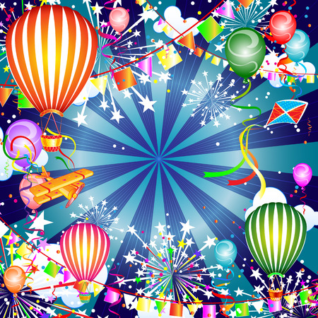 festive background: Festive background with balloons and fireworks, vector illustration Illustration