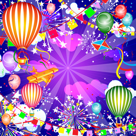 Festive background with balloons and fireworks, vector illustration Иллюстрация