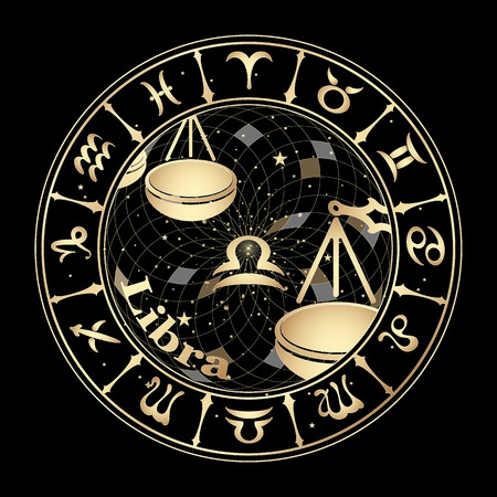 forecasts: Gold sign of the zodiac on black background, vector illustration