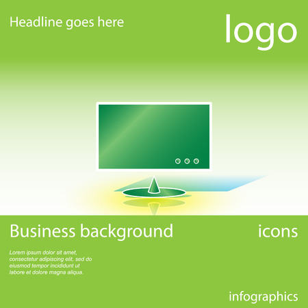 consumer electronics: Display, consumer electronics, green business background with space for text, vector illustration Illustration