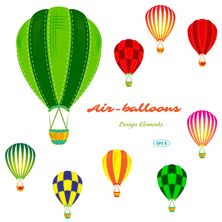 aerostat: air balloons set, retro, vector illustration